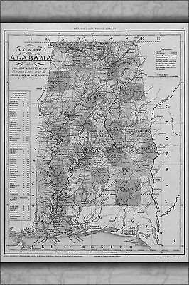 1841 AL ALABAMA Map CLAY CLEBURNE COFFEE COLBERT CONECUH COOSA COUNTY very big