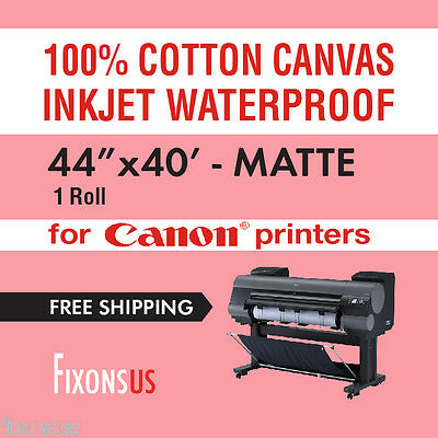 "100% Cotton Inkjet Canvas for Canon - Matte Finish 44"" x 40' - 1 Roll"