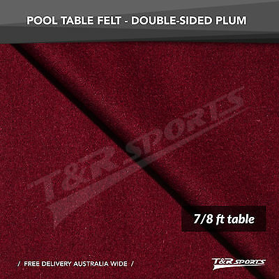 New! Plum Double-Sided Wool Pool Snooker Table Cloth/felt Suits 7''&8''