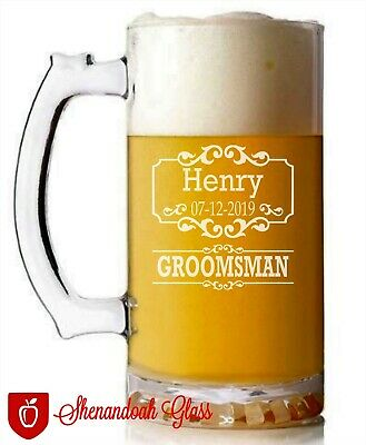 Groomsman Clear Glassware Set Beer Mug Gifts. Personalized-Engraved-Wedding