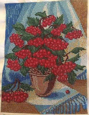 """Completed Hand Beaded Embroidered Picture """"Viburnum(guelder rose), Kalyna"""""""