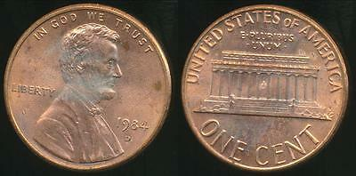United States, 1984-D One Cent, Lincoln Memorial - Uncirculated