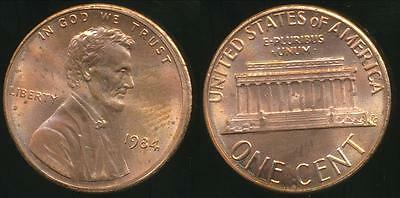 United States, 1984-P One Cent, Lincoln Memorial - Choice Uncirculate