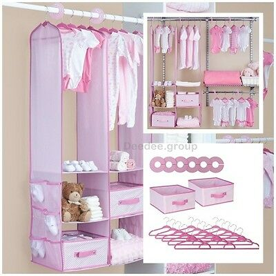 24 Piece Girl Nursery Closet Organizer Baby Clothes Hangers Storage Shelf Lady