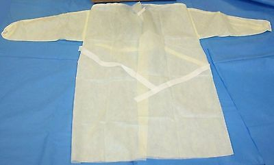 Cardinal (100)Total Universal Disposable Yellow Isolation Gowns Smocks At4437-Bd