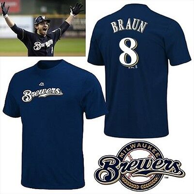 Majestic Men's T Shirt Milwaukee Brewers MLB #8 Ryan Braun NWT Navy Blue Size S