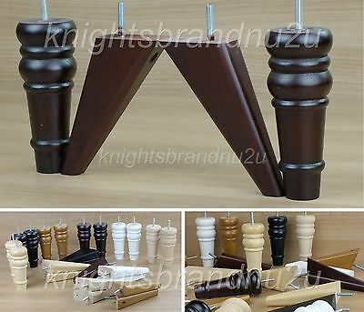4x SOLID WOOD REPLACEMENT FURNITURE LEGS/FEET - SOFAS, SETTEES, CHAIRS M8(8mm)