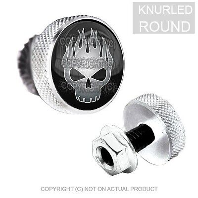 034 2 Silver Billet Knurled License Plate Frame Tag Bolts FIRE SKULL GREY