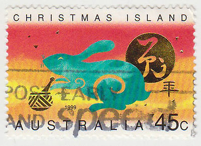 (CIA-67) 1999 Christmas Island 45c year of the rabbit used (A)