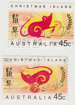 (CIA-53) 1996 Christmas Island 2stamps year of the rat (A)
