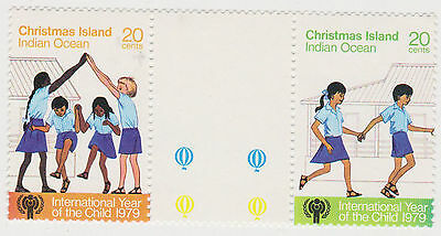 (CIA-22) 1977 Christmas Island 20c gutter pair year of the child MUH (A)