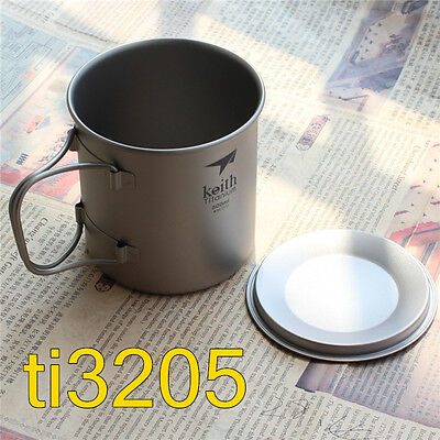 Keith Titanium Water Cup Outdoor Camping Office Mug Lockable Grip W/ Lid 500ml