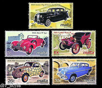 Antique & Classic Automobiles set of 5 mnh stamps Malta 2003 Scott #1108-12