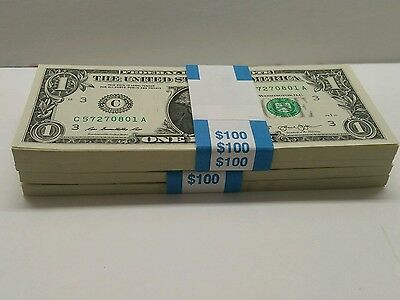 10  New Uncirculated $1 One Dollar Bills FRN from District C Philadelphia