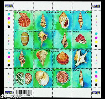 Sea Shells complete mnh sheet of 16 different stamps 2003 Malta #1135