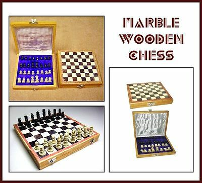 Marble + Wooden Chess Game Set for Art lovers Handmade Stylish & Royal..