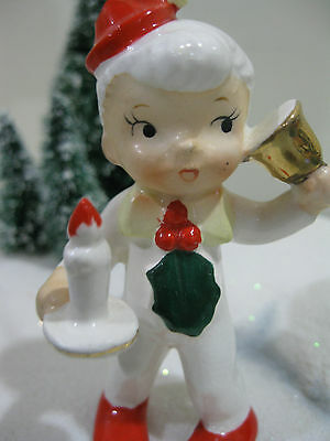 Vintage Holt Howard Christmas Boy Ornament with Bell and Candle PIXIE ELF
