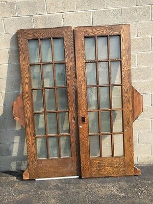 T 13 One Pair Oak Antique Beveled Glass Pocket Doors