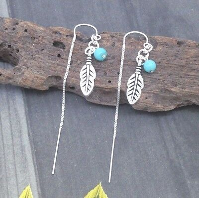 Sterling Silver Ear Thread Threader Earrings Boho Feather Charm Turquoise Bead