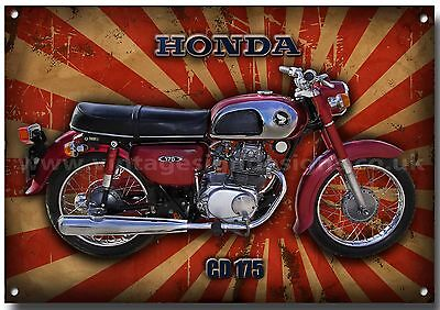 Honda Classic Cd 175 Motorcycle Metal Sign,1970's,retro,high Gloss Finish