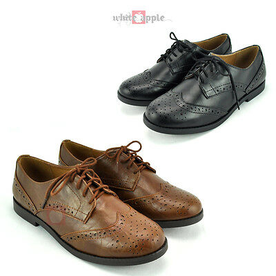 2c871ac388 New Women Oxford Lace Up Flats Faux Leather Low Heel Soda Casual Shoes Toast