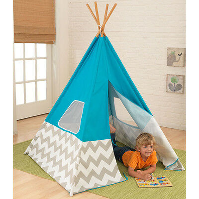 Small Childrens Canvas Bamboo Chevron Gray Blue Teepee Play Tent w Windows