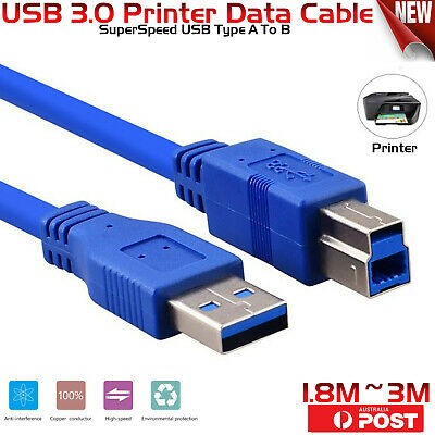 SuperSpeed USB 3.0 Type A To B Printer Data Cable Cord For Brother Dell HP Xerox