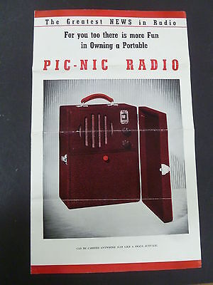 Vintage Original Picnic Radio Advertising Pamphlet Brochure