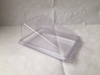 Cake/Gateaux Slice Clear Plastic Container Hinged **choose quantity**
