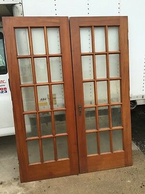 D 24 One Pair Antique French Doors Walnut Or Cherry With Beveled Glass