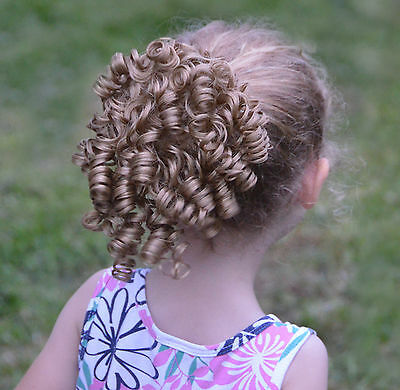 Curly Dancer's Wiglet Ringlets Bun Drawstring Comb Dancers Hair Piece *Tiny Tots