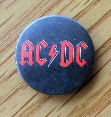 AC/DC RED LOGO VINTAGE METAL BUTTON BADGE FROM THE 1980's  DIRTY DEEDS