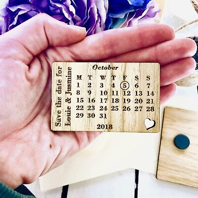 Personalised Wooden Save the Date Magnets Wedding Invitations Calendar 11STD