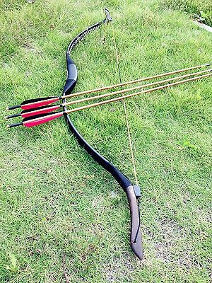 Nice set Black leather recurve bow Archery longbow 20lbs-60lbs +3 bamboo arrows