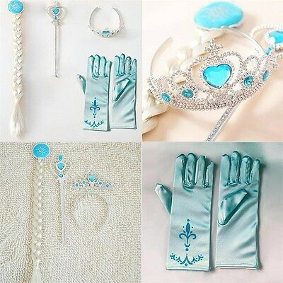 4Pcs Cosplay Crown Tiara Hair Accessory Crown Wig +Magic Wand For Elsa Anna OE