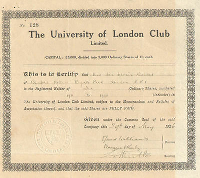 The University of London Club Limited > 1926 England certificate stock