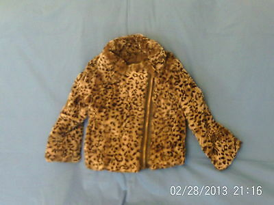 Girls 7 Years - Beige/Brown Leopard Print  Faux Fur Jacket - Blue Zoo