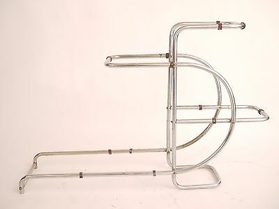Chrome bedside lounge stand curved glass modernist flower stand