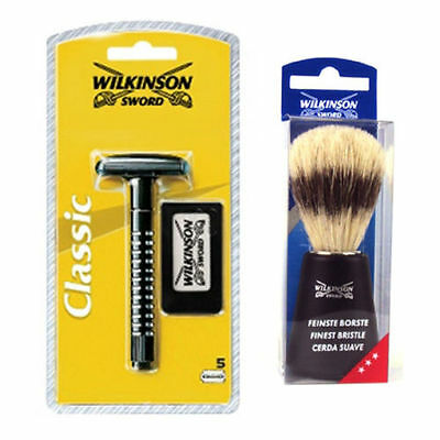 Wilkinson Sword CLASSIC WET SHAVE SAFETY RAZOR with Wilkinson Brush and Blades