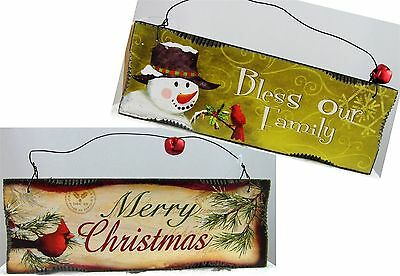 2 Christmas wood signs MERRY CHRISTMAS & BLESS OUR FAMILY wall decor set