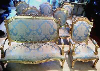 Antique French gold-silk chair set, Louis XIV, 1860, Restored, Stunning, Dining