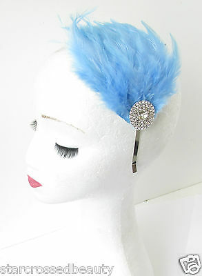 Light Blue Silver Feather Fascinator Headpiece Headband 1920s Frozen Vintage R56