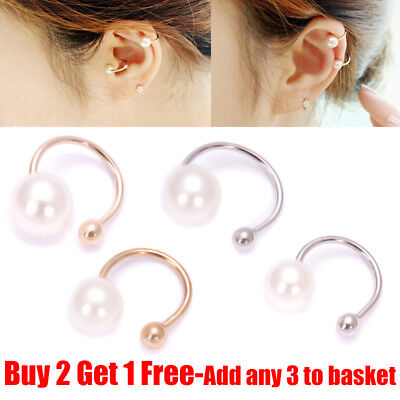 1 Pair Fake Clip-on Pearl Earring Cartilage Fake Ear Cuff Clip Wrap Non Piercing