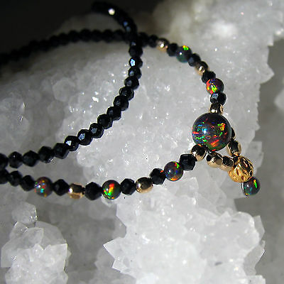 zarte synth. black opal und  spinell  kette, 925 silber verg.+ rotgold