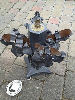 Very Very Unusual Copper And Lead Hand Crafted Table Lamp Heavy And  Bizarre
