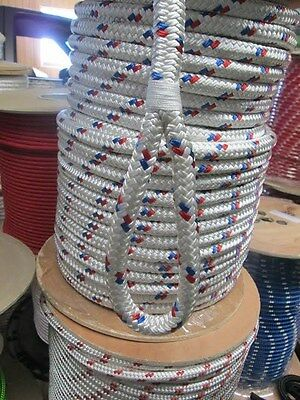 CABLE PULLING ROPE,ANCHOR LINE   9/16 x 100' DOUBLE BRAID POLYESTER  USA w/LOOP