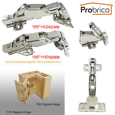 Probrico Kitchen 135/165º Cupboard Corner Folded Cabinet Door Hinges One Pair