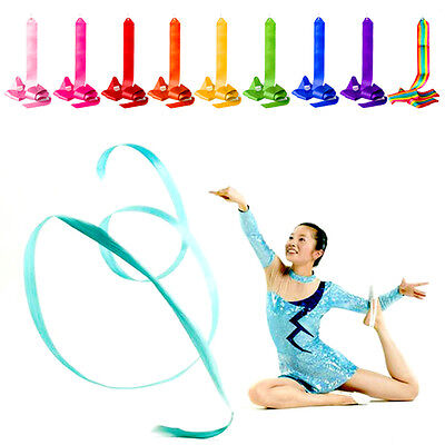 2 x Gym Dance Ribbon 4M Rhythmic Art Gymnastic Streamer Twirling Rod Stick