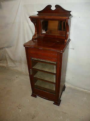 A Top Quality Late Victorian Red Walnut Music Mirrored Cabinet