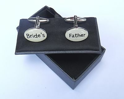 """Bride's Father"" Wedding Gift-Cream/Silver Style Cuff links in a GIFT BOX-NEW"